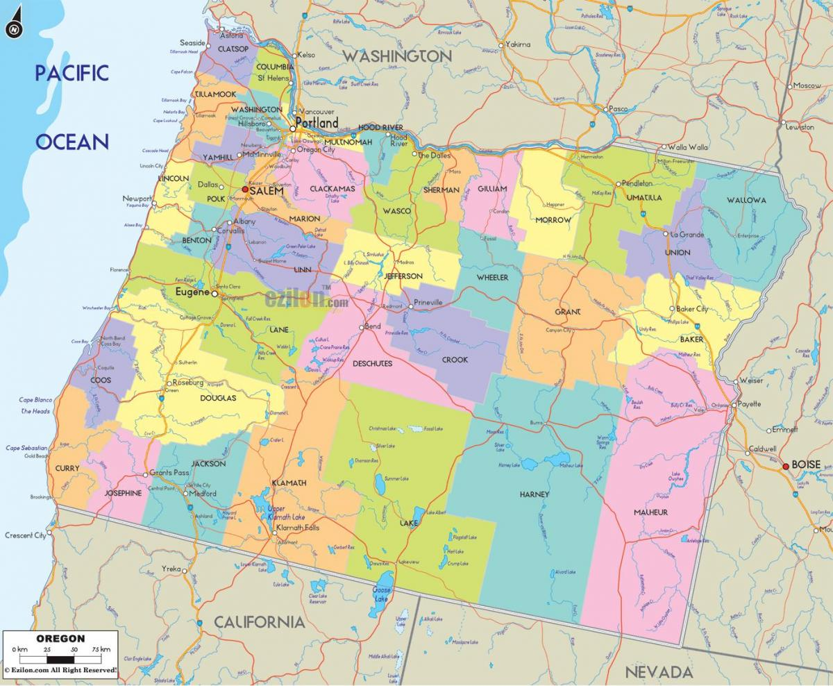 Portland Oregon county mappa
